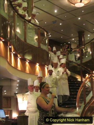 2019_11_03 to 17 Cunard's Queen Mary New York to Southampton @ first Literature Festival at Sea.  (130) Our last formal evening. Chef's Parade. 130