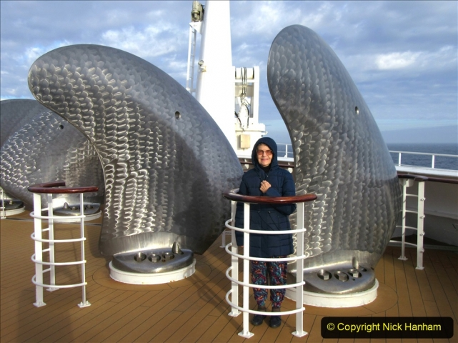 2019_11_03 to 17 Cunard's Queen Mary New York to Southampton @ first Literature Festival at Sea.  (62) Your Host & Wife on deck. 062