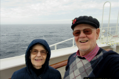 2019_11_03 to 17 Cunard's Queen Mary New York to Southampton @ first Literature Festival at Sea.  (64) Your Host & Wife on deck. 064