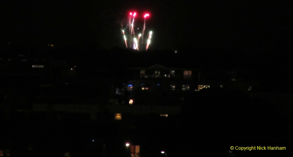 2019-11-03 to 17 Cunard's Queen Mary Southampton to New York. (170) Bonfire night celebration for November 05 as we leave. 170