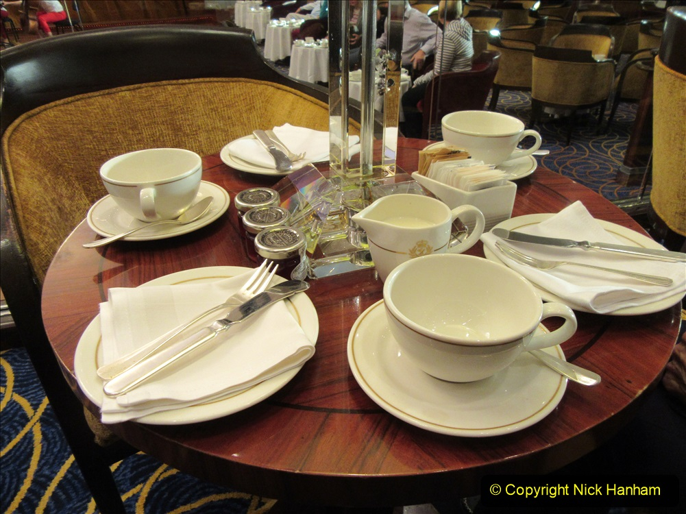 2019-11-03 to 17 Cunard's Queen Mary Southampton to New York. (194) The famous White Star Afternoon Tea. 191