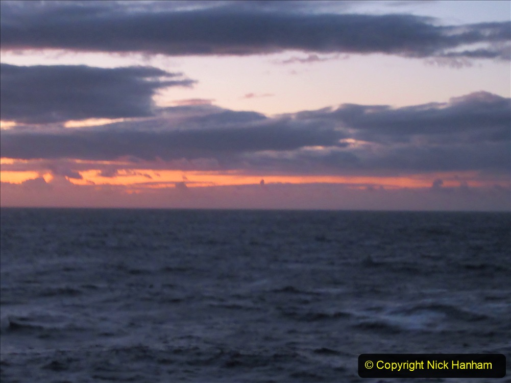 2019-11-03 to 17 Cunard's Queen Mary Southampton to New York. (221) Dusk. 221