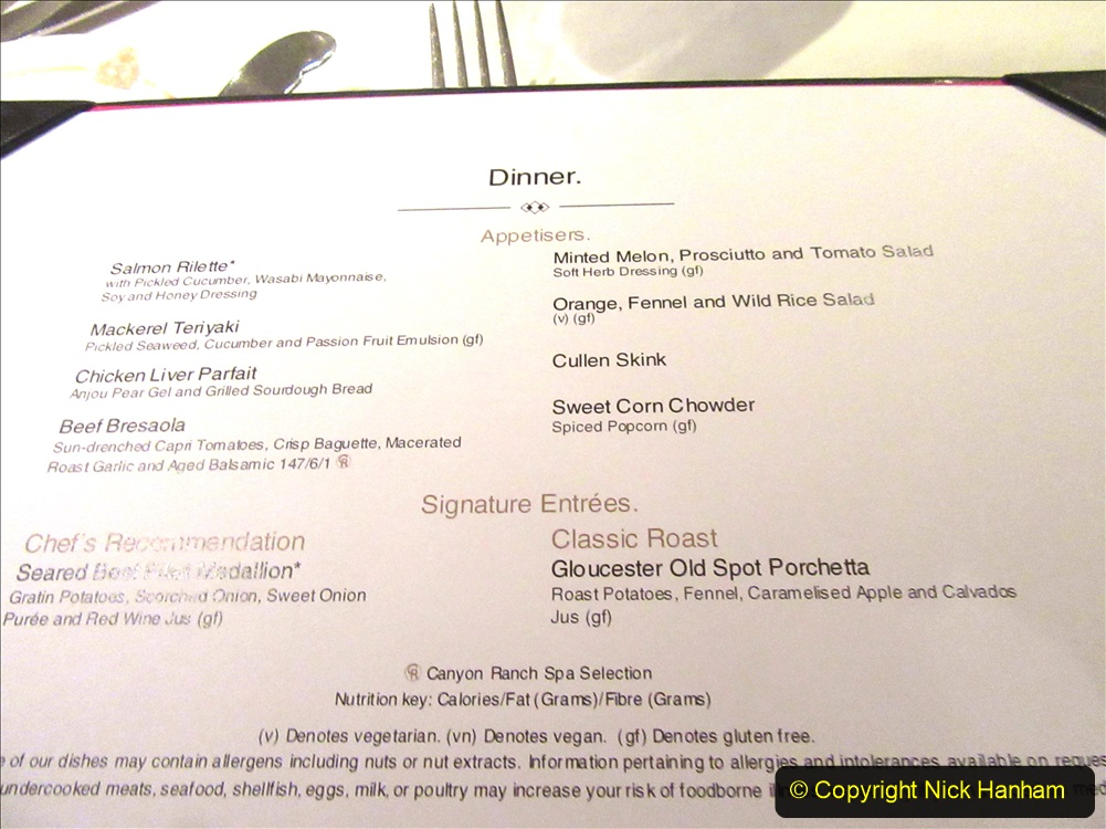 2019-11-03 to 17 Cunard's Queen Mary Southampton to New York. (224) Formal dinner. 224