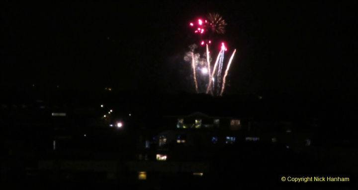 2019-11-03 to 17 Cunard's Queen Mary Southampton to New York. (174) Bonfire night celebration for November 05 as we leave. 174