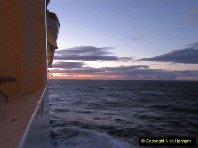 2019-11-03 to 17 Cunard's Queen Mary Southampton to New York. (220) Dusk. 220