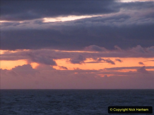 2019-11-03 to 17 Cunard's Queen Mary Southampton to New York. (222) Dusk. 222
