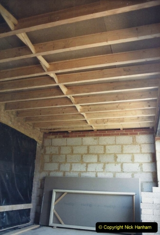 Retrospective  Summer 1985 Your Host builds a house extension. (31) Internal roof finished and ready for plasterboard.31