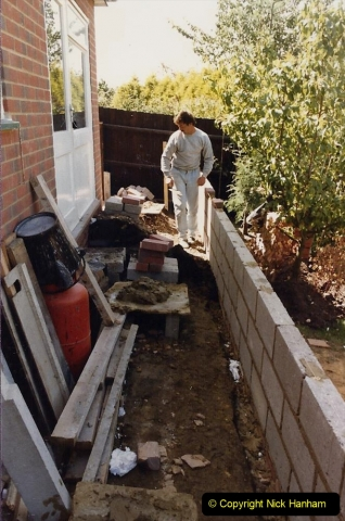 Retrospective  Summer 1985 Your Host builds a house extension. (52) Outside work round the extension. 52