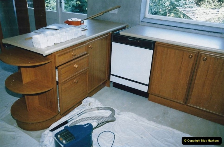 Retrospective  Summer 1985 Your Host builds a house extension. (65) Cupboard and work surface area completed. 65