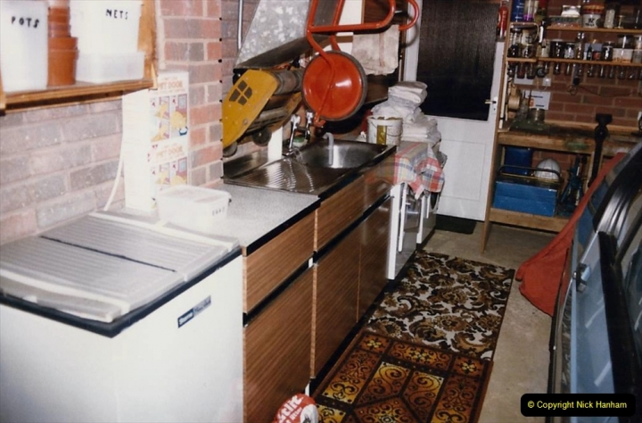 Retrospective  Summer 1985 Your Host builds a house extension. (74) Old kitchen sink unit moved to garage as a utility area.74