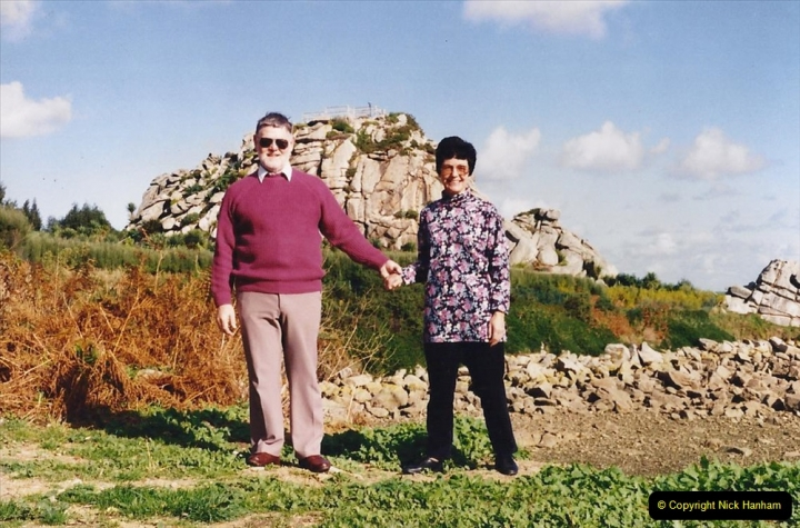 1994 France - October. (27) This garden near roscoff appeared on UK television. Your Host & Wife at the garden.27