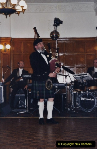 2002 Miscellaneous. (6) Your Host & Wife with friends Burns Night 19 January. Piping in the Haggis. 006