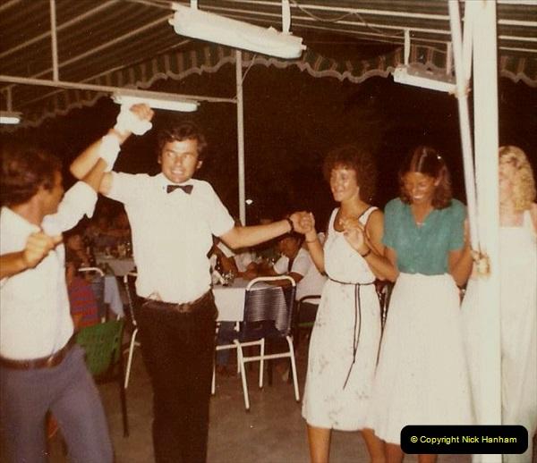 1980 Retrospective Corfu. (14) Out hotel waiters entertain us. 14