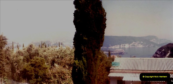 1980 Retrospective Corfu. (7) View from out hotel room. 07