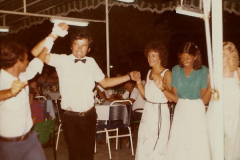 1980 Retrospective Corfu. (14) Out hotel waiters entertain us. 14