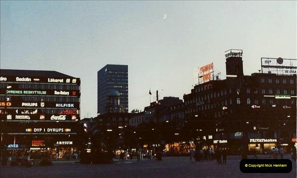 Denmark July 1983. (36) Copenhagen at night. 36