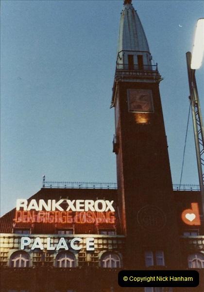 Denmark July 1983. (39) Copenhagen at night. 39