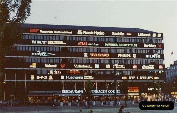 Denmark July 1983. (37) Copenhagen at night. 37