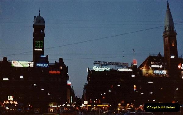 Denmark July 1983. (40) Copenhagen at night. 40