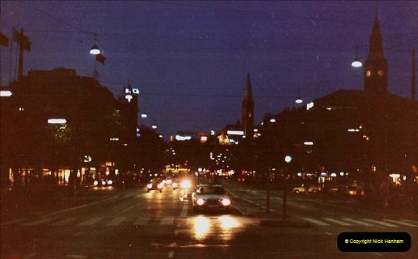 Denmark July 1983. (42) Copenhagen at night. 42