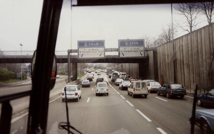 1990 Retrospective France North West and Paris, School Visit. (66) On the way to Paris. 066