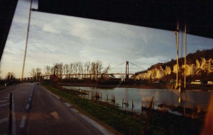 1990 Retrospective France North West and Paris, school visit. (35) Pont De Tancarville. 035