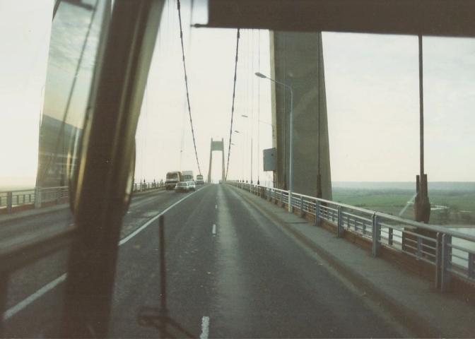 1990 Retrospective France North West and Paris, school visit. (37) Pont De Tancarville. 037