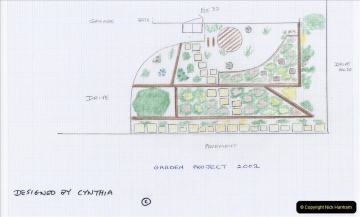 2001 Garden improvements at my Wifes cousins by your Host. Garden designed by my Wife's cousin.  (1) The plan of the back garden.01