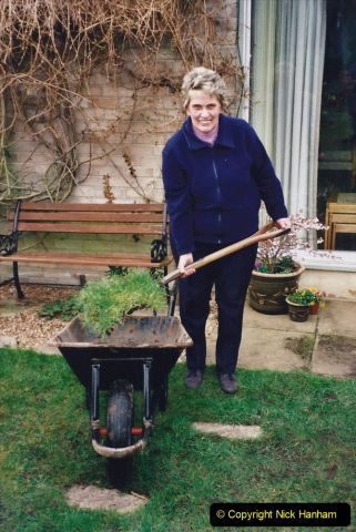 2001 Garden improvements at my Wifes cousins by your Host. Garden designed by my Wife's cousin.  (9) The first sod cut.09