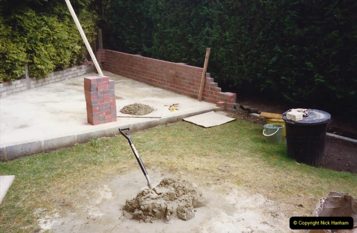 April 1990 Your Host alters the back garden. (16) Bricklaying. 16