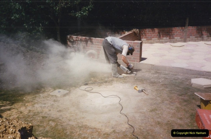 April 1990 Your Host alters the back garden. (19) Angle Grinder work. 19