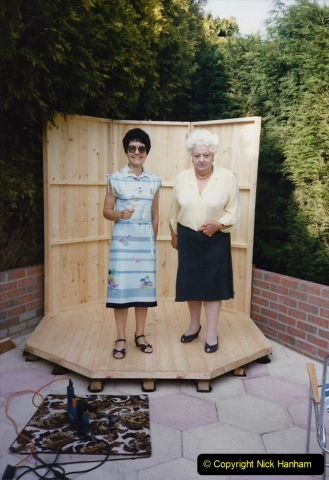 April 1990 Your Host alters the back garden. (35) Erecting Summer House. 32