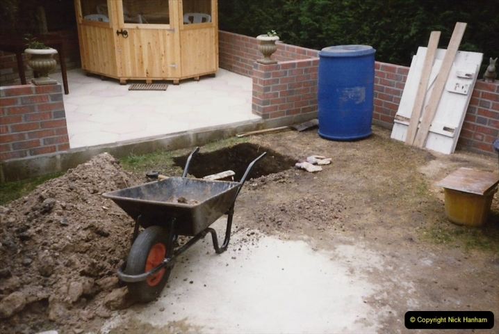 April 1990 Your Host alters the back garden. (44) Constructing drainage sumpe. 44