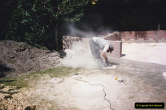 April 1990 Your Host alters the back garden. (18) Angle Grinder work. 18
