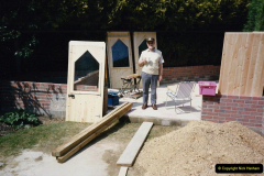 April 1990 Your Host alters the back garden. (33) Erecting Summer House. 32