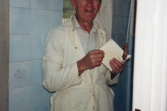 1989 April May June Your Host Building Cloakroom and shower room using alleyway between garage and house. (31) Our Master Tiler Ted.