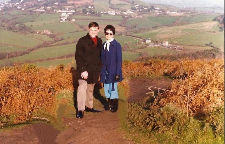 1983 Lyme Regis, Dorset. (17) On Golden Cap. Your Host and Wife. 086277086