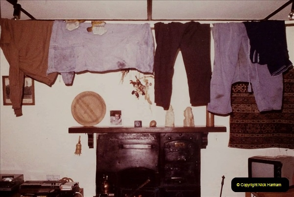 1984 Cumbria. (20) Our accommodation in Outhgill. Your Host's overalls drying after after doing a turn on the Keighley and Worth Valley Railway. 160351160