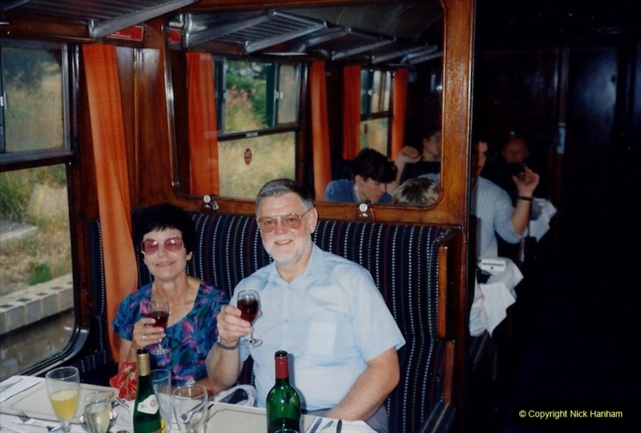1994 Miscellaneous. (581) Your Host (Not on railway duties) and Wife have dinner on the Wessex Belle.0485