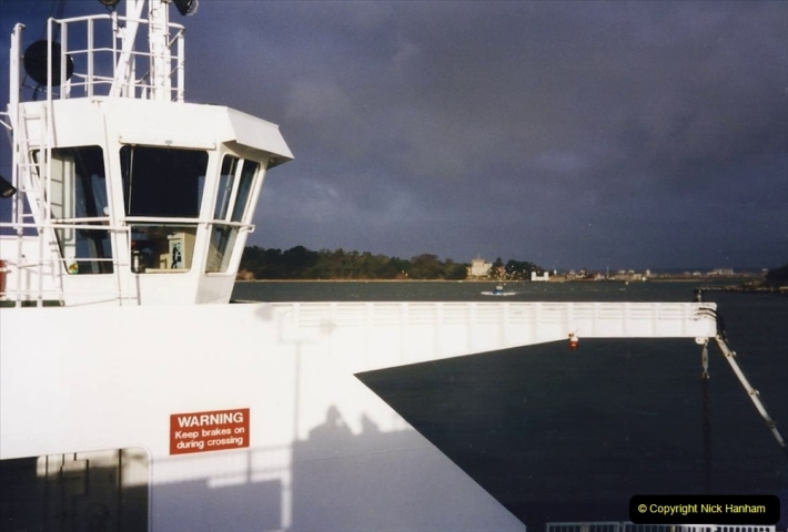 1996 Miscellaneous. (4) Sandbanks Ferry. For the fourth time I have the only car on the ferry. 0599