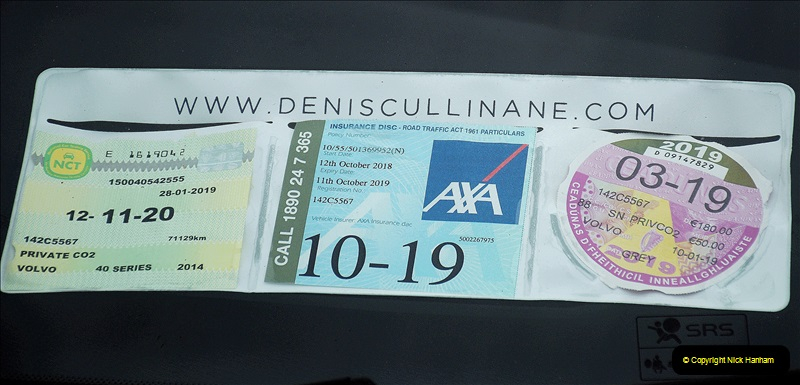 2019-04-01 & 02 Cobh - Cork - Captains Table. (185) Car tax and insurance information displayed on the windscreen of Irish vehicles.185185