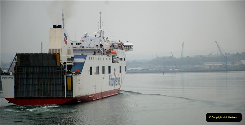 2019-04-01 & 02 Cobh - Cork - Captains Table. (251) Btittany Ferries service arriving from Roscof, France. 251251