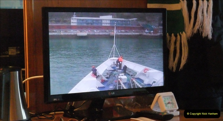 2019-04-01 & 02 Cobh - Cork - Captains Table. (3) Docking observed from the comfort of out cabin. 003003