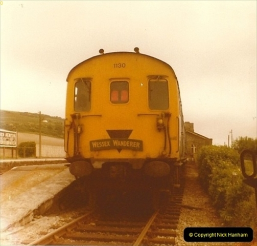 1976 June 01. Maiden Newton, Dorset. The Wessex Wonderes was an SR fund raising train. Your Host ran a saleas stand in the guards compartment.0015
