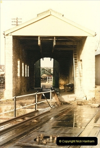 1985-03-22 Swanage engine shed being restored.0267