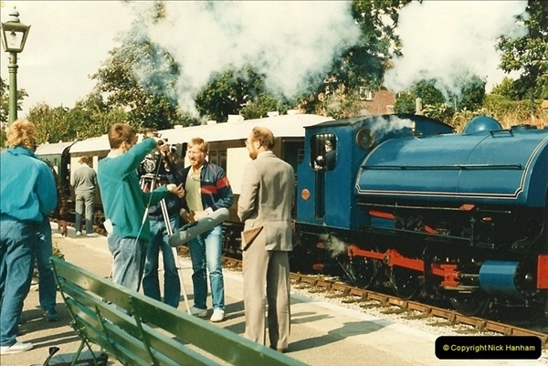 1987-09-30 Your Host driving a special film unitb train. This was the first passenger train to Quarr Farm Crossing.  (13)0521