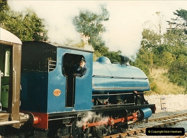 1987-09-30 Your Host driving a special film unitb train. This was the first passenger train to Quarr Farm Crossing.  (14)0522