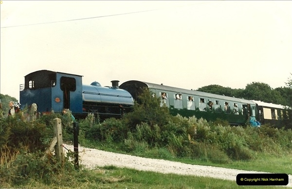 1987-09-30 Your Host driving a special film unitb train. This was the first passenger train to Quarr Farm Crossing.  (15)0523