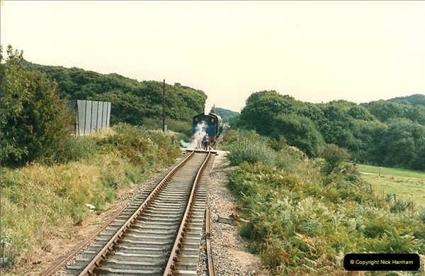 1987-09-30 Your Host driving a special film unitb train. This was the first passenger train to Quarr Farm Crossing.  (21)0529