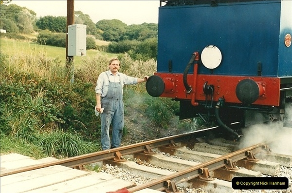 1987-09-30 Your Host driving a special film unitb train. This was the first passenger train to Quarr Farm Crossing.  (22)0530